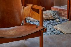 Carl Axel Acking Carl Axel Acking Trienna Chair in Patinated Brown Leather circa 1957 - 1134749