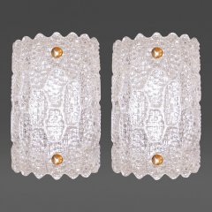 Carl Fagerlund Pair of Glass Sconces Carl Fagerlund for Orrefors Sweden c 1940s - 32589