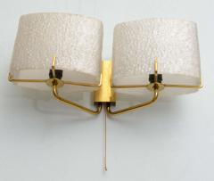 Carl Fagerlund Pair of Swedish Modern Two Light Wall Sconces Carl Fagerlund for Orrefors - 358270