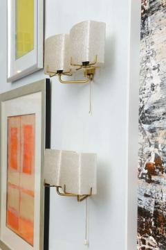 Carl Fagerlund Pair of Swedish Modern Two Light Wall Sconces Carl Fagerlund for Orrefors - 358274