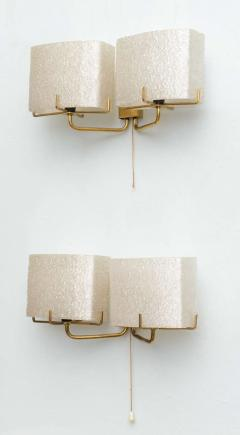 Carl Fagerlund Pair of Swedish Modern Two Light Wall Sconces Carl Fagerlund for Orrefors - 358275