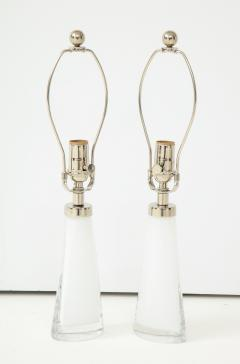 Carl Fagerlund Pair of White Crystal Lamps by Orrefors  - 1135855