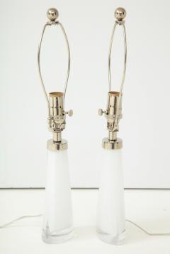 Carl Fagerlund Pair of White Crystal Lamps by Orrefors  - 1135856