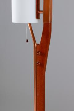Carl Fagerlund Very Rare Floor Lamp by Orrefors in Teak Copper and Opaline Glass - 900789