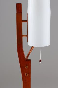 Carl Fagerlund Very Rare Floor Lamp by Orrefors in Teak Copper and Opaline Glass - 900791