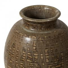 Carl Halier Vase with ridged texture and layered glazes by Carl Halier - 1180867
