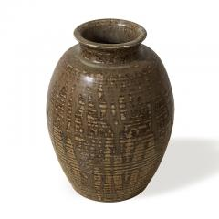 Carl Halier Vase with ridged texture and layered glazes by Carl Halier - 1180868