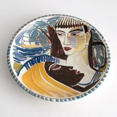 Carl Harry St lhane CARL HARRY ST LHANE R RSTRAND 1943 HAND PAINTED BOWL WITH TWO FACES - 1557404