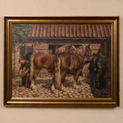 Carl Hertz Antique Oil Painting of a Farrier and Draft Horses by Carl Hertz - 1070256