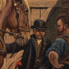 Carl Hertz Antique Oil Painting of a Farrier and Draft Horses by Carl Hertz - 1070261