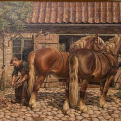 Carl Hertz Antique Oil Painting of a Farrier and Draft Horses by Carl Hertz - 1070263