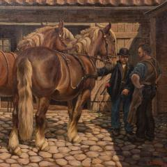 Carl Hertz Antique Oil Painting of a Farrier and Draft Horses by Carl Hertz - 1070264