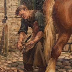 Carl Hertz Antique Oil Painting of a Farrier and Draft Horses by Carl Hertz - 1070265