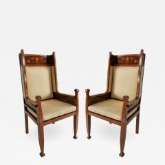 Carl Malmsten A Pair Swedish Art Deco Inlaid High Back Armchairs - 1172857