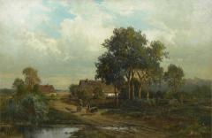 Carl Weber Bamberg Bavaria 1880 Pastoral Landscape Painting by Carl Weber - 1117413