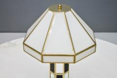 Carl Zalloni Rare Glass Mirror and Brass Table Lamp by Carl Zalloni for Cazal 1969 - 1154579
