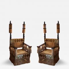 Carlo Bugatti Pair of Carlo Bugatti Throne Arm Chairs - 459558