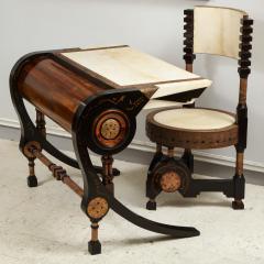 Carlo Bugatti Style Writing Desk with Chair - 1044232
