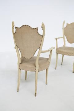 Carlo Enrico Rava Italian white Chairs by Carlo Enrico Rava in lacquered ash six pieces 1950s - 1556256