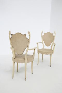 Carlo Enrico Rava Italian white Chairs by Carlo Enrico Rava in lacquered ash six pieces 1950s - 1556257