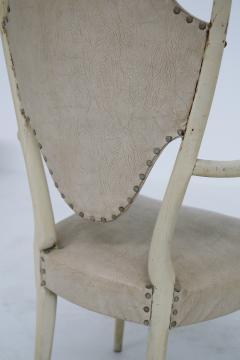 Carlo Enrico Rava Italian white Chairs by Carlo Enrico Rava in lacquered ash six pieces 1950s - 1556259