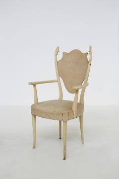 Carlo Enrico Rava Italian white Chairs by Carlo Enrico Rava in lacquered ash six pieces 1950s - 1556261