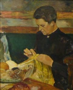 Carlo Hornung Jensen Woman with Needlework - 329979