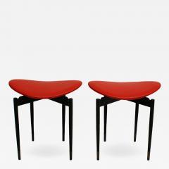 Carlo Mollino Mid Century Set of Two Lutrario Stools Designed by Carlo Mollino Italy 1959 - 2079046