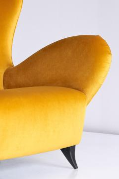 Carlo Mollino Sculptural Pair of Turin School Wingback Armchairs in Gold Velvet Italy 1940s - 903328