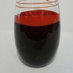 Carlo Moretti Carlo Moretti 1980s Italian Vintage Black Coral Red Crystal Murano Glass Vase - 1189218