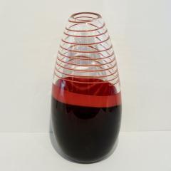 Carlo Moretti Carlo Moretti 1980s Italian Vintage Black Coral Red Crystal Murano Glass Vase - 1189223