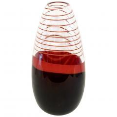 Carlo Moretti Carlo Moretti 1980s Italian Vintage Black Coral Red Crystal Murano Glass Vase - 1189301