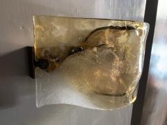 Carlo Nason Carlo Nason Pair Of Wall Lights In Glass And Brass Mazzega Murano Late 1960s - 1928914