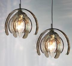 Carlo Nason Pair of Sculptural Artichoke Chandeliers by Carlo Nason for Mazzega Italy - 1314926