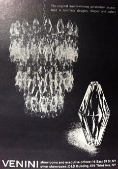 Carlo Scarpa Chandelier Carlo Scarpa Venini Murano Polyhedron Glass Italy 1960s - 775380