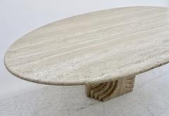 Carlo Scarpa Italian Travertine Oval Top Samo Fluted Carved Base Dining Table Carlo Scarpa - 1117159
