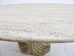 Carlo Scarpa Italian Travertine Oval Top Samo Fluted Carved Base Dining Table Carlo Scarpa - 1117161