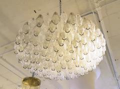 Carlo Scarpa Large Venini Polyhedron Clear Beige Chandelier Mid Century Modern - 596474