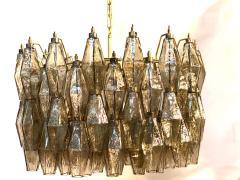 Carlo Scarpa Pair of Grey Poliedri Murano Glass Chandeliers Carlo Scarpa Style - 1693843