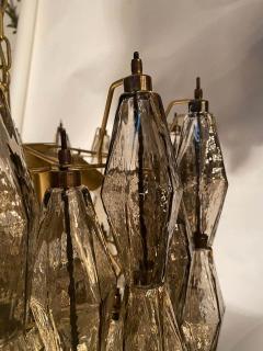 Carlo Scarpa Pair of Grey Poliedri Murano Glass Chandeliers Carlo Scarpa Style - 1693845