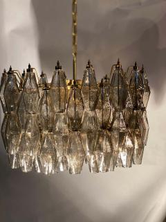 Carlo Scarpa Pair of Grey Poliedri Murano Glass Chandeliers Carlo Scarpa Style - 1693850
