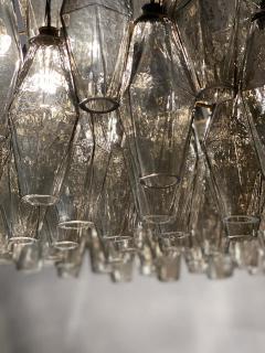 Carlo Scarpa Pair of Grey Poliedri Murano Glass Chandeliers Carlo Scarpa Style - 1693860