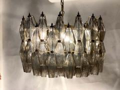 Carlo Scarpa Pair of Grey Poliedri Murano Glass Chandeliers Carlo Scarpa Style - 1693866