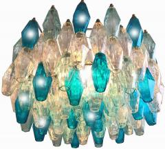 Carlo Scarpa Pair of Murano Glass Poliedri Colored Chandelier in the Style of Carlo Scarpa - 1507716