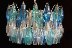 Carlo Scarpa Pair of Murano Glass Poliedri Colored Chandelier in the Style of Carlo Scarpa - 1507840