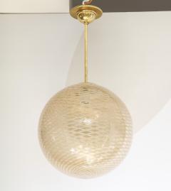 Carlo Scarpa Venini 1930s reticello glass globe chandelier - 1014025