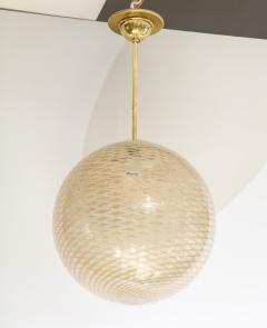 Carlo Scarpa Venini 1930s reticello glass globe chandelier - 1014027