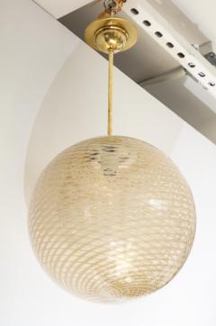 Carlo Scarpa Venini 1930s reticello glass globe chandelier - 1014029
