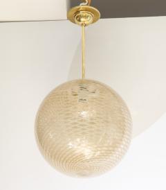 Carlo Scarpa Venini 1930s reticello glass globe chandelier - 1014031