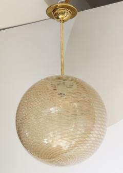 Carlo Scarpa Venini 1930s reticello glass globe chandelier - 1014034